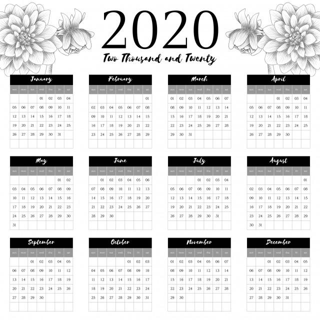 Calendrier 2020 Vectoriel Gratuit.Calendrier 2020 Avec Decoration De Croquis De Fleurs De