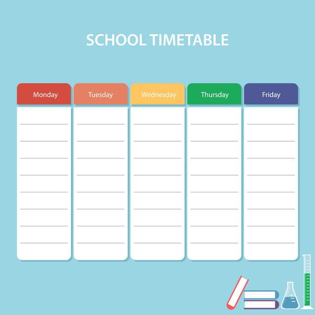 بطاقة جدول زمني المدرسة الملونة مع أيام الأسبوع مدرسة الجدول الزمني بانر Png والمتجهات للتحميل مجانا