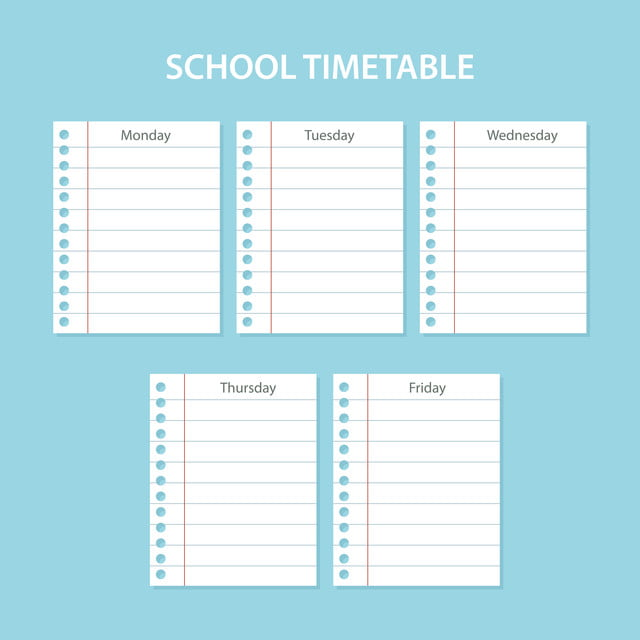 Creative School Schedule Card With Scratched Sheets Of The Days Of The Week School Timetable Banner Png And Vector With Transparent Background For Free Download