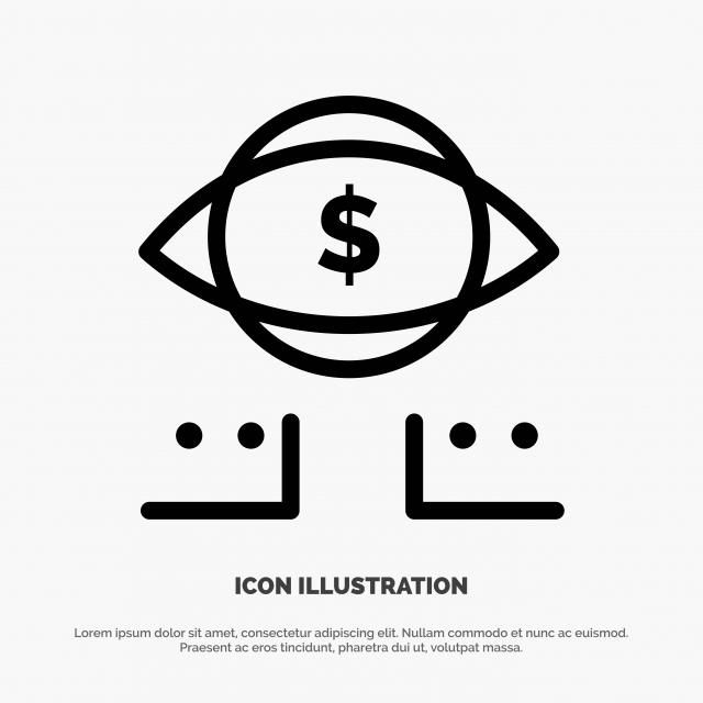 Eye Dollar Marketing Digital Line Icon Vector Arrow Bank