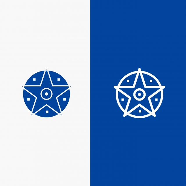 Pentacle Satanic Project Star Line And Glyph Solid Icon Blue