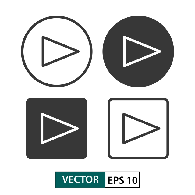 Play Button Vector Icon Set Isolated On White Vector