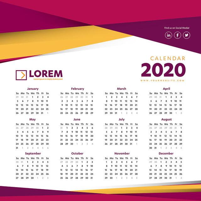 Calendrier 2020 Vectoriel Gratuit.Calendrier 2020 Modele Colore Illustration Vectorielle Mur