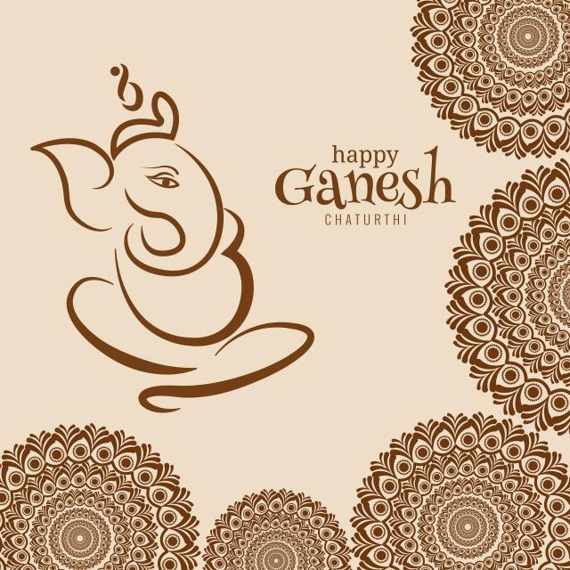 Happy Ganesh Chaturthi Greeting Card Showing Background