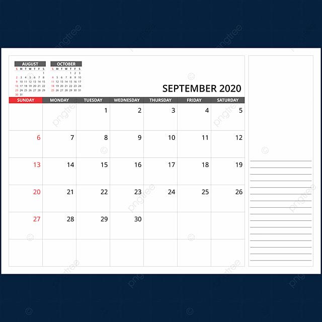 Calendrier Septembre 2020.Calendrier Mensuel Septembre 2020 2020 Calendrier La