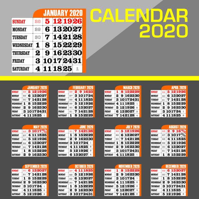 Modele De Calendrier 2020.Calendar 2020 With Modern Concept 2020 Day Calendar Png