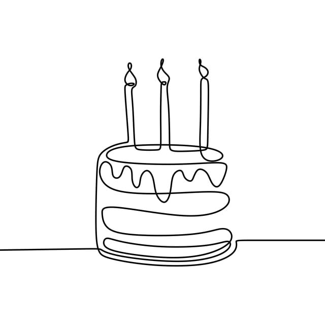 Tremendous Continuous Line Drawing Birthday Cake With Candle Symbol Of Funny Birthday Cards Online Alyptdamsfinfo