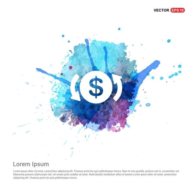 Dollar Icon Watercolor Background