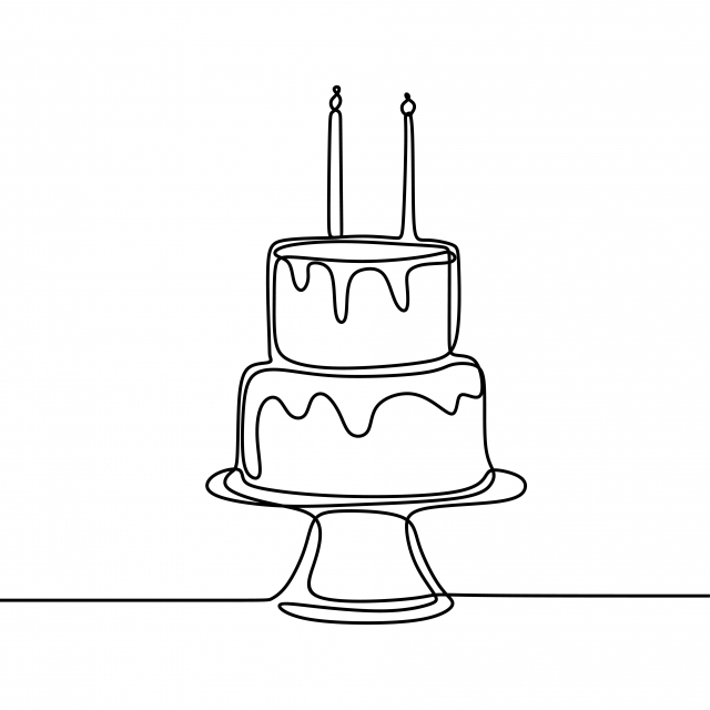 Birthday cake set. Vector hand drawn illustration of birthday cake with  different candles with and without fire in vintage engraved style. isolated  on white background.