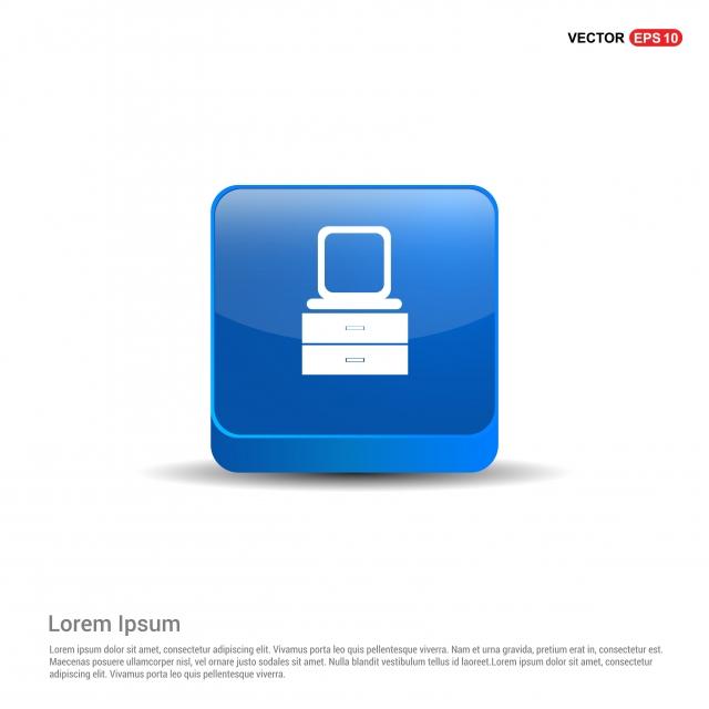 Coiffeuse Avec Icône Miroir Bouton Bleu 3d Archive