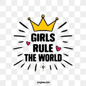 cute cartoon creative colorful crown girl rule world feminist declaration art word, Girl Rules The World, Feminist, Feminist Declaration PNG and Vector