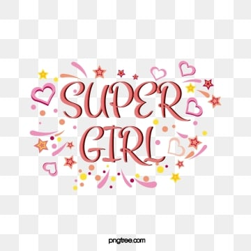 cute cartoon creative super girl feminist declaration ribbon love star decorative art word, Coloured Ribbon, Heart Love, Stars PNG and Vector