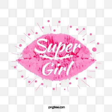 pink lipstick super girl creative cute art word, Pink, Lips, Lipstick Print PNG and Vector