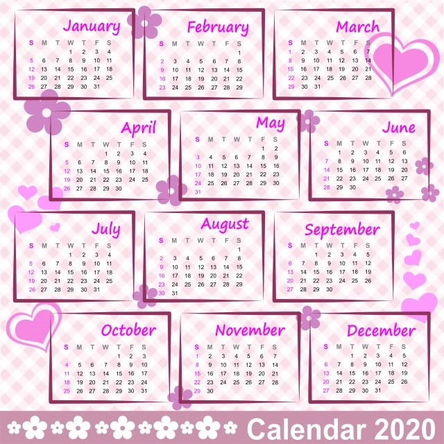 Calendrier 2020 Vectoriel Gratuit.Calendrier 2020 Cadre Coeurs Fleurs Date Jour Agenda 2020