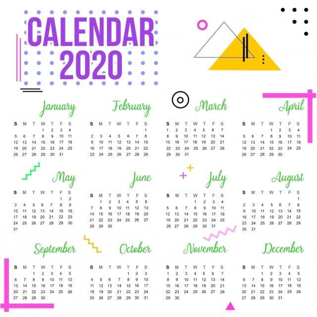 Calendrier 2020 Vectoriel Gratuit.Calendrier 2020 Blanc Geometrique Date Jour Agenda 2020