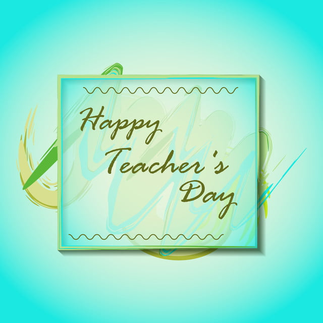happy teacher day on watercolor background with frame