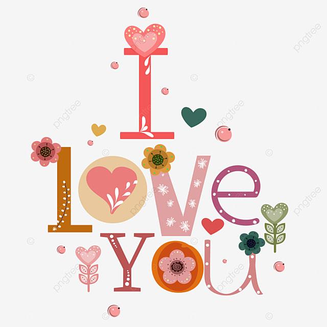 Słodkie Kocham Cię Tekst Karty Z Serca I Kwiaty Ozdobione