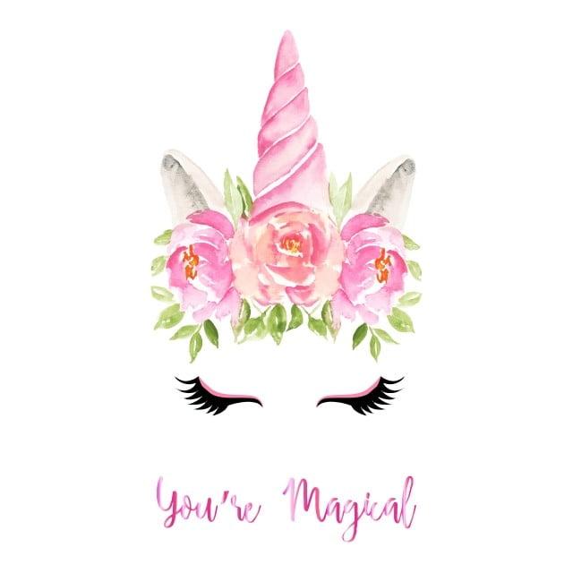 Logo Mockup Design For Business: Watercolor Cute Unicorn Flowers Magical, Magic, Unicorn