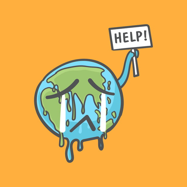 Stop Global Warming Earth Globe Crying And Holding A Help