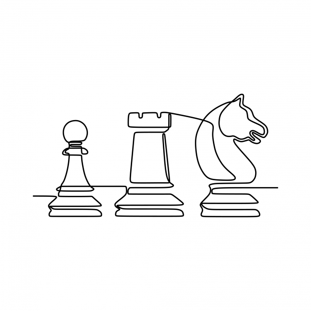 Continuous One Line Drawing Of Chess Pieces Minimalist