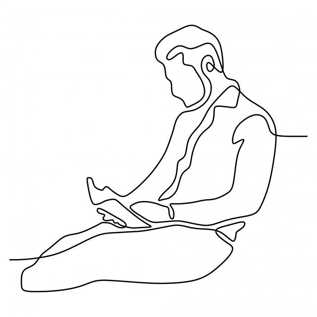 Continu Dessin Ligne Adolescent Lecture Livre Illustration