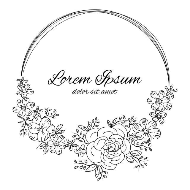 Outline Circle Border Hand Drawn Wedding Invitation