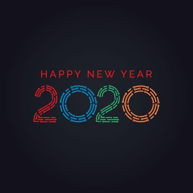 Modèle De Conception 2020 Nouvel An Néon Texte 2020 Bonne