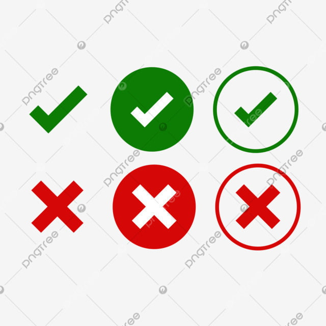 Tick And Cross Signs Green Checkmark Ok And Red X Icons