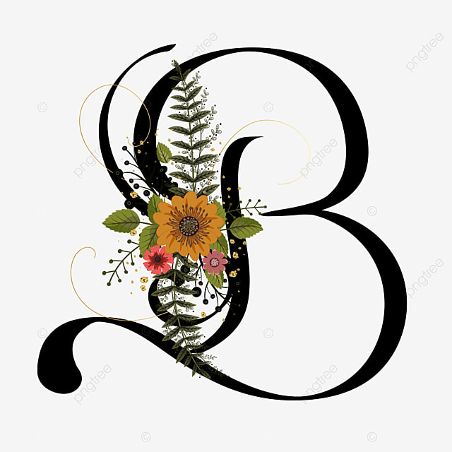 Floral Wedding Logo Collection: Alphabet Floral Letter B With Flowers And Leaves Text