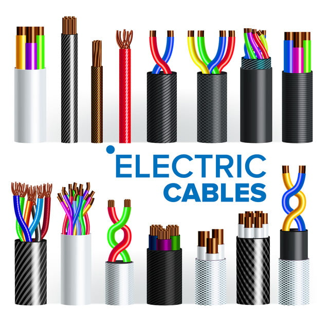Electric Cables Set Vector Copper Wire Electrician Rubber Cord Industrial Network Power Electricity Energy Communication Connection Component 3d Realistic Isolated Illustration Cable Wire Power Png And Vector With Transparent Background For Free