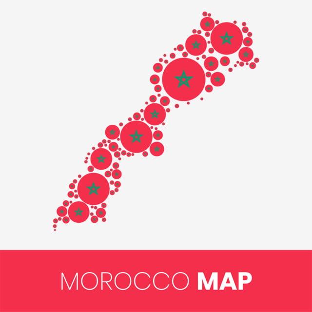 Cartina Politica Del Marocco.Mappa Del Marocco Riempita Con Cerchi A Forma Di Bandiera Mappa Del Marocco Con Bandiera Astratto Africa Sfondo Png E Vector Per Il Download Gratuito