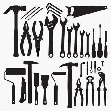 силуэты коллекции рабочих инструментов, инструменты клипарт, фон, Щетка PNG ресурс рисунок и векторное изображение