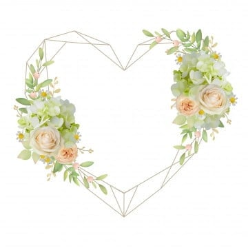 pngtree beautiful love frame background with floral roses and hydrangea png image 1817397