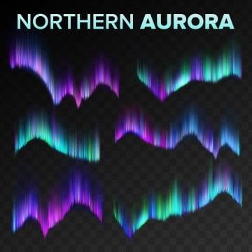 северное сияние набор вектор полярное небо ночь блестящий волшебный феномен черный прозрачный фон абстрактный северное сияние север тайна атмосфера огни реалистичные иллюстрация, астрология, астрономия, северное сияние PNG ресурс рисунок и векторное изображение