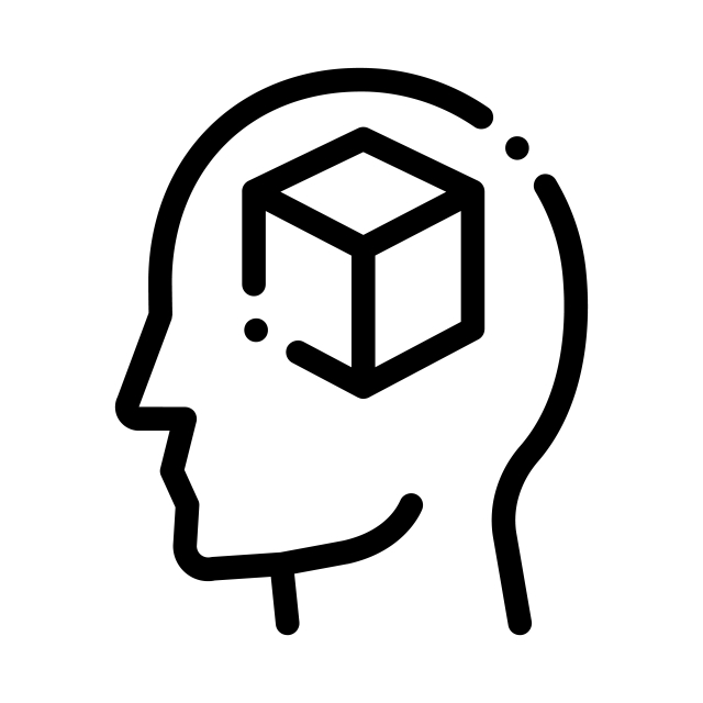 Cube Figure In Man Silhouette Mind Vector Icon, Cube, Figure