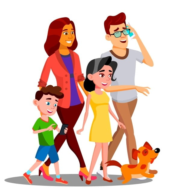 Family Walking Spending Time Together Outdoor Vector Isolated Illustration Family Together Happy Png And Vector With Transparent Background For Free Download