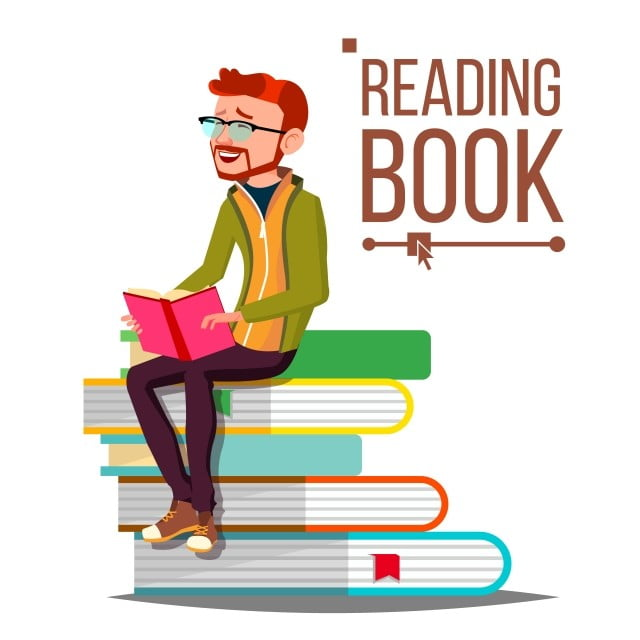 man reading book vector giant stack of books library learning isolated flat cartoon illustration leisure literature male png and vector with transparent background for free download man reading book vector giant stack of