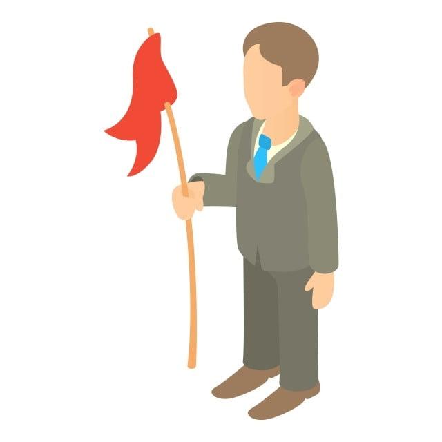 Gambar Ahli Perniagaan Yang Memegang Gaya Kartun Ikon Bendera Merah Bendera Ahli Perniagaan Kartun Png Dan Vektor Untuk Muat Turun Percuma