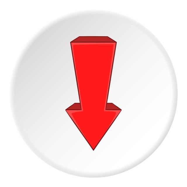 Czerwona Strzałka W Dół Ikona Stylu Cartoon, Strzała, Rysunek, Ikona PNG i  wektor do pobrania za darmo