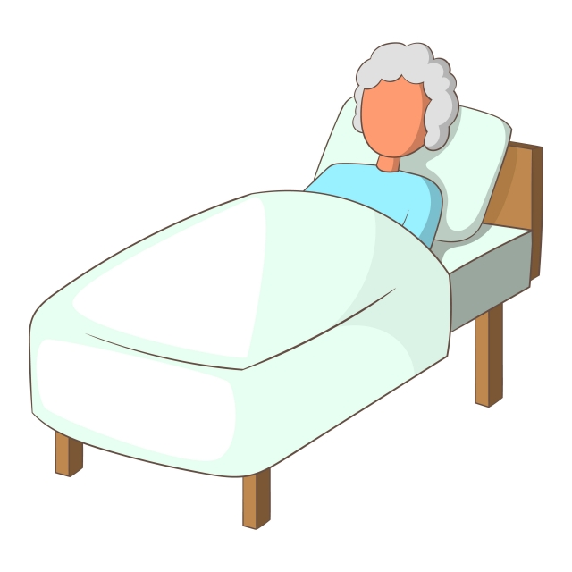 Old Woman In Bed Icon Cartoon Style Old Woman Bed Png And