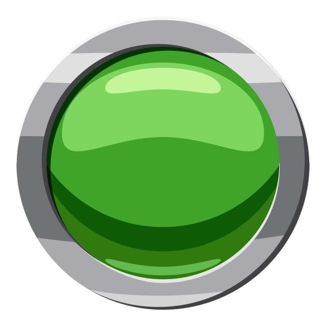 круглый зеленый значок кнопки мультяшном стиле, раунд, зеленый, кнопка PNG  и вектор пнг для бесплатной загрузки