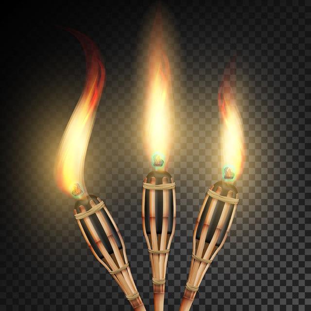 membakar obor bambu pantai terbakar di latar belakang transparan gelap obor realistis dengan ilustrasi vektor api bambu obor api png dan vektor dengan latar belakang transparan untuk unduh gratis membakar obor bambu pantai terbakar di