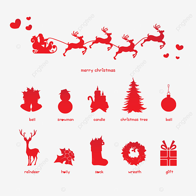 Merry Christmas Silhouette Icons Set Angel Art Ball Png And Vector With Transparent Background For Free Download
