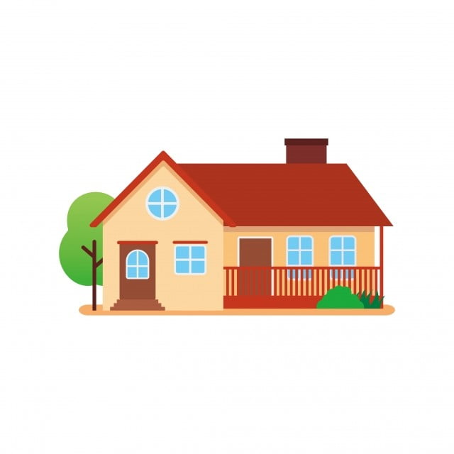 Traditional House Vector Illustration With Simple Flat ... (640 x 640 Pixel)
