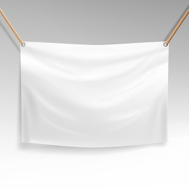 White Banner With Ropes Vector Realistic Clear Textile