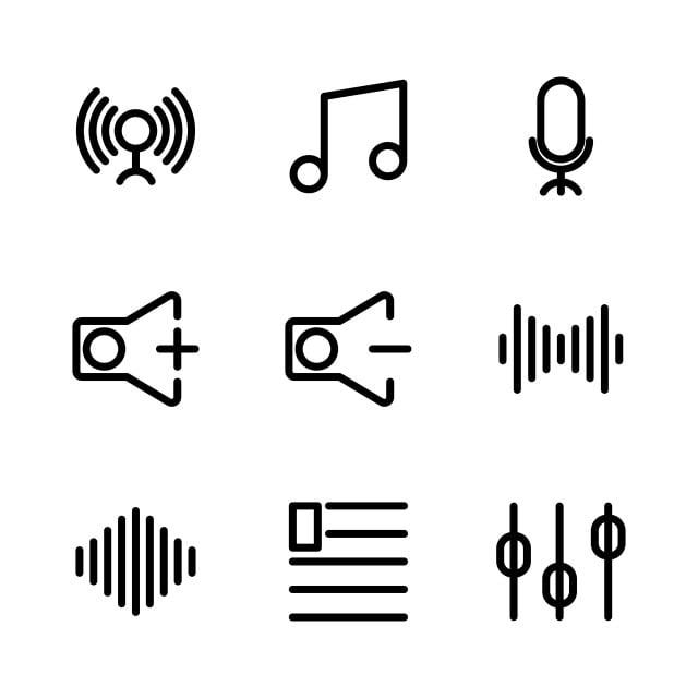 ikon musik dan multimedia yang ditetapkan mencakup musik lingkaran mulai fase sinyal menghubungkan nada nada ritme ikon musik dan multimedia yang