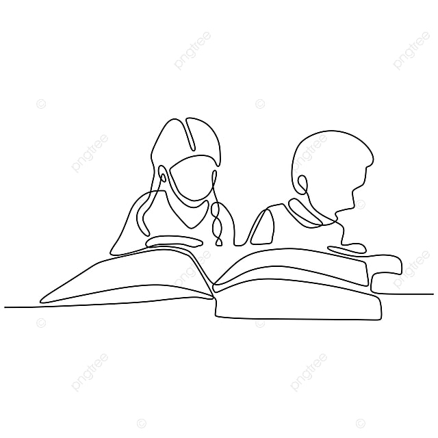 Continuous Line Drawing Of Kids Read Book Minimalist Vector