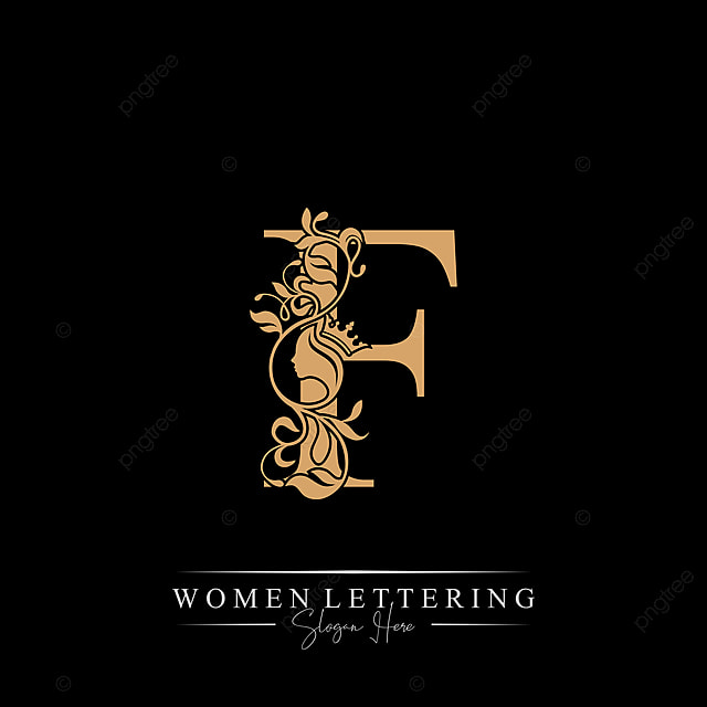 Initial Letter Luxury F Logo With Beautiful Woman Portrait