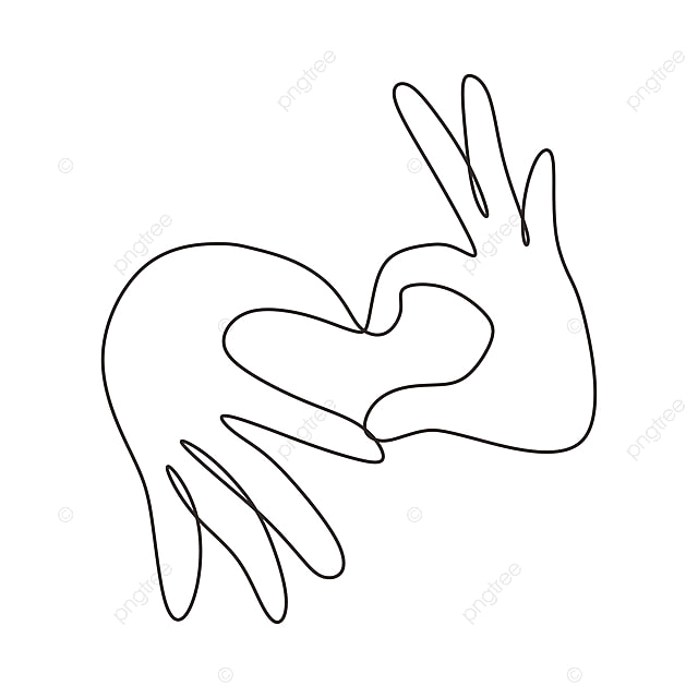 Continuous One Line Drawing Of Love Sign Symbol From Fingers Hands Love Hand Sketch Png And Vector With Transparent Background For Free Download Hand arm drawing, hands png. fingers hands love hand sketch png