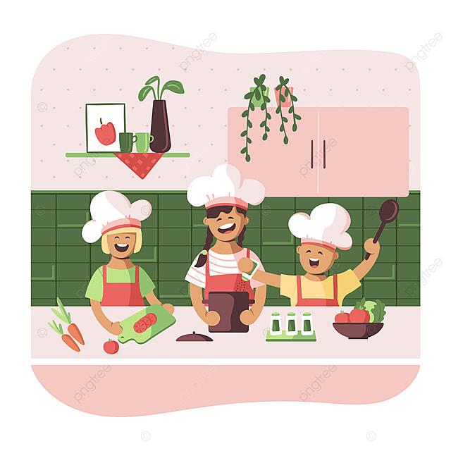 Anak Anak Comel Dalam Apron Memasak Di Dapur Kanak Kanak Memasak Makanan Png Dan Vektor Untuk Muat Turun Percuma